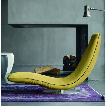 Ricciolo Chaise Lounge, Mustard Yellow Eco-Leather