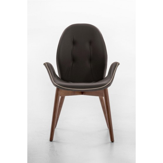 Sorrento Dining Arm Chair, Canaletto Walnut Wood Base, Dark Brown Leather Upholstery, Dove Grey Сreasing photo