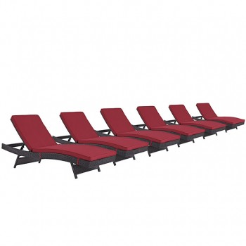 Convene Chaise Outdoor Patio, Set of 6, Espresso, Red by Modway