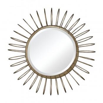 Green Field Wire Frame Mirror in Gold Leaf