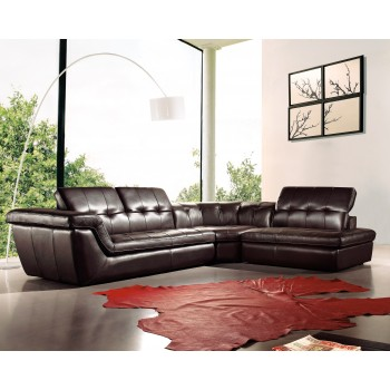 397 Italian Leather Sectional, Right Arm Chaise Facing, Chocolate by J&M Furniture