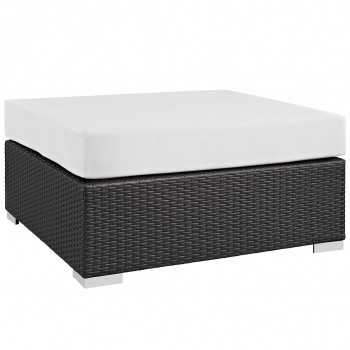 Convene Outdoor Patio Large Square Ottoman, Espresso, White by Modway