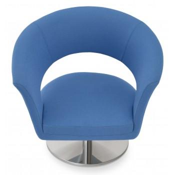 Ada Swivel Round Armchair, Sky Blue Camira Wool by SohoConcept Furniture