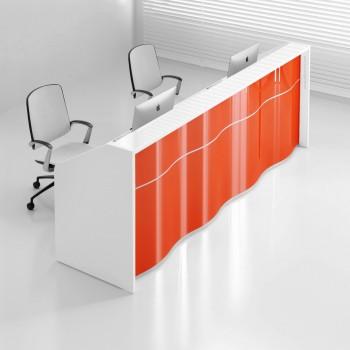 Wave LUV20 Reception Desk, High Gloss Orange