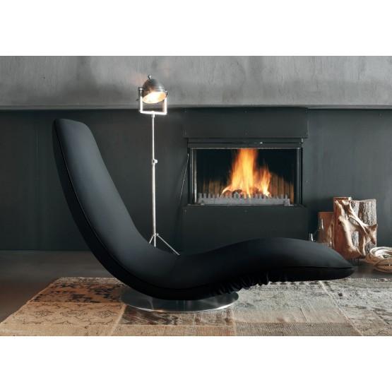 Ricciolo Chaise Lounge, Black Orchidea Fabric photo