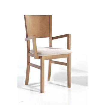 231 Dining Arm Chair, Brown Base, Beige Upholstery