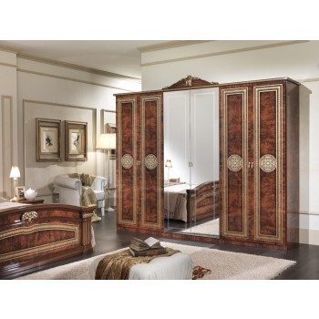 Alexandra 6-Door Wardrobe w/Mirror + Crown, Walnut