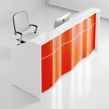 Wave LUV16 Reception Desk, High Gloss Orange