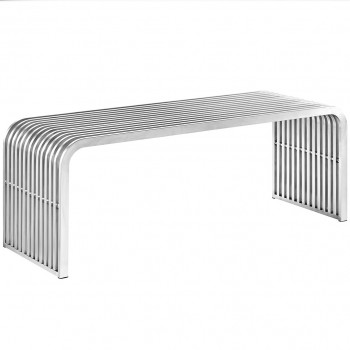 Pipe Stainless Steel Bench 2, Silver by Modway