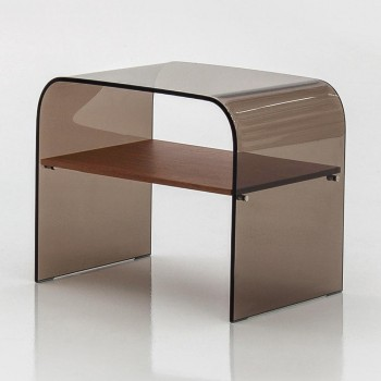 Anemone Side Table with Canaletto Walnut Wood Shelf, Bronze Transparent