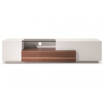 015 TV Stand, Walnut + White High Gloss by J&M Furniture