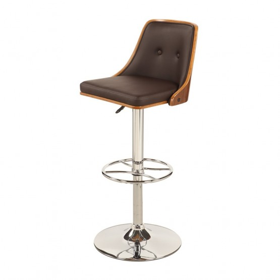 1353 Upholstered Back Pneumatic Stool, Brown photo