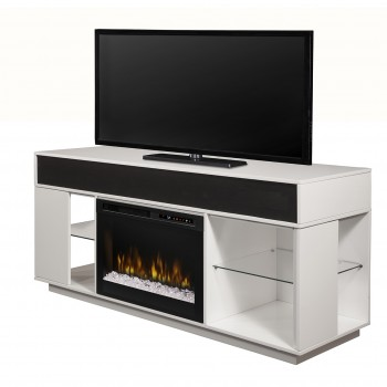 "Audio Flex Lex Media Console, White Finish, Acrylic Ice (XHD) 26"" Firebox"