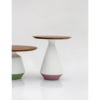 Amira Side Table, Matt White and Purple Ceramic Base, Canaletto Walnut Wood Top