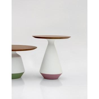 Amira Side Table, Matt White and Purple Ceramic Base, Canaletto Walnut Wood Top