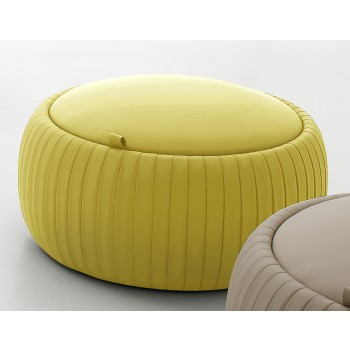 Plisse Small Pouf, Mustard Yellow Eco-Leather