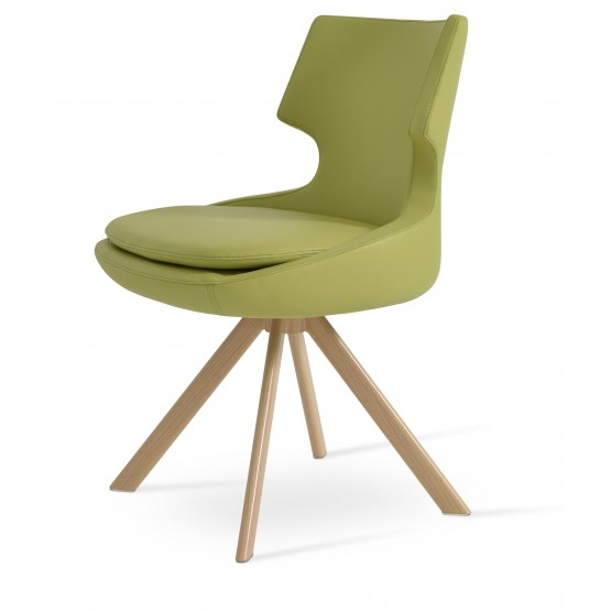 Patara Sword Dining Chair, Natural Veneer Steel, Green Leatherette photo