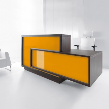FORO LF10 Reception Desk, High Gloss Orange + Chestnut