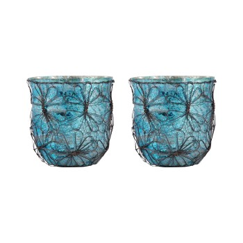 Camille Votive, Blue, Set of 2