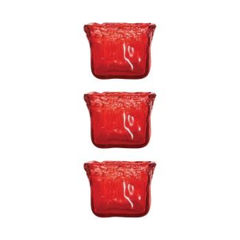 Inca Square Votive, Red, Set of 3