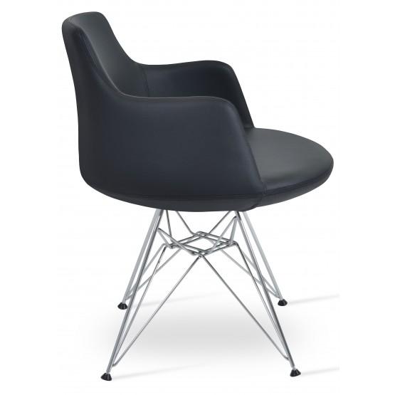 Dervish Tower Chair, Chrome Base, Black Leatherette photo