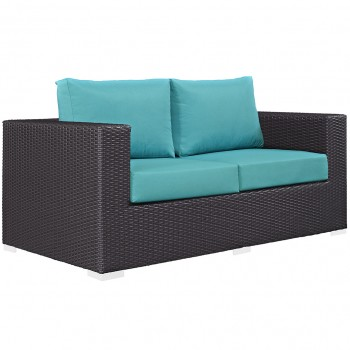 Convene Outdoor Patio Loveseat, Espresso, Turquoise by Modway