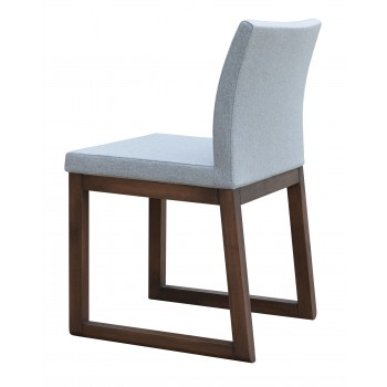 Aria Sled Wood Dininng Chair, Solid Beech Walnut Finish, Silver Camira Wool by SohoConcept Furniture