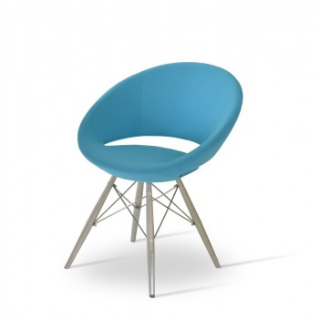 Crescent MW Chair, Stainless Steel, Turquoise Camira Wool, Large Seat by SohoConcept Furniture