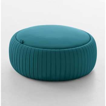 Plisse Medium Pouf, Turquoise Blue Eco-Leather