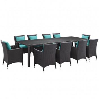 Convene 11 Piece Outdoor Patio Dining Set, Сomposition 1, Espresso, Turquoise by Modway