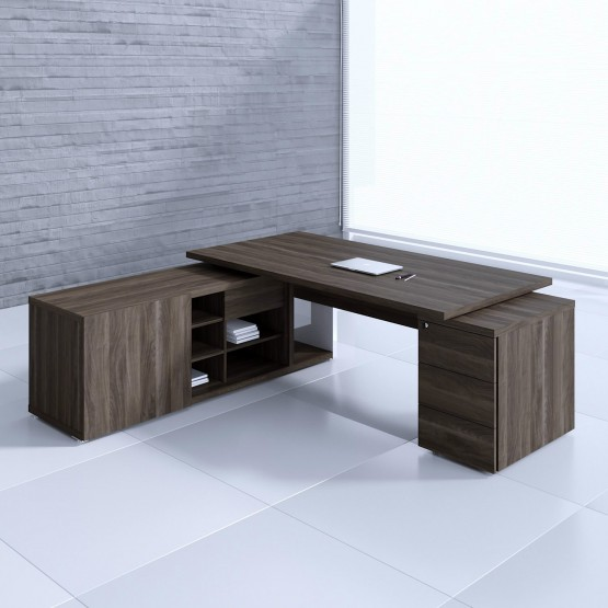 Mito Executive Desk w/Managerial Side Storage + Pedestal MIT1KD, Dark Sycamore + White High Gloss photo