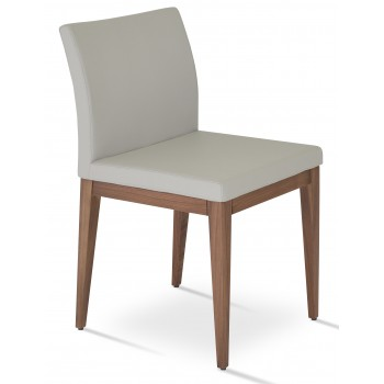 Aria Wood Dininng Chair, Solid Beech Walnut Color, Light Grey Leatherette by SohoConcept Furniture