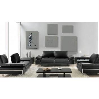 Gia 3-Piece Living Room Set, Black