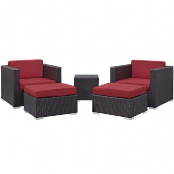 Convene 5 Piece Outdoor Patio Sectional Set, Сomposition 1, Espresso, Red by Modway