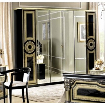 Aida 4-Door Wardrobe, Black + Gold