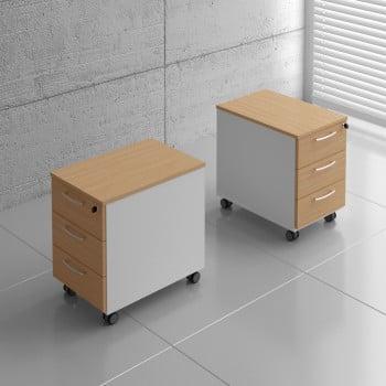 Basic KKT13 Mobile Pedestal w/3 Drawers, White + Beech