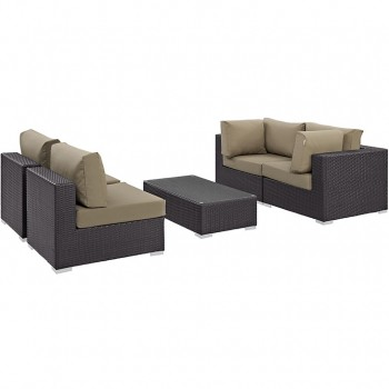 Convene 5 Piece Outdoor Patio Sectional Set, Сomposition 2, Espresso, Mocha by Modway