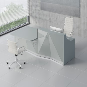 Alpa ALP21P Reception Desk, Aluminum