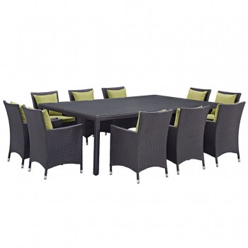 Convene 11 Piece Outdoor Patio Dining Set, Сomposition 2, Espresso, Peridot by Modway