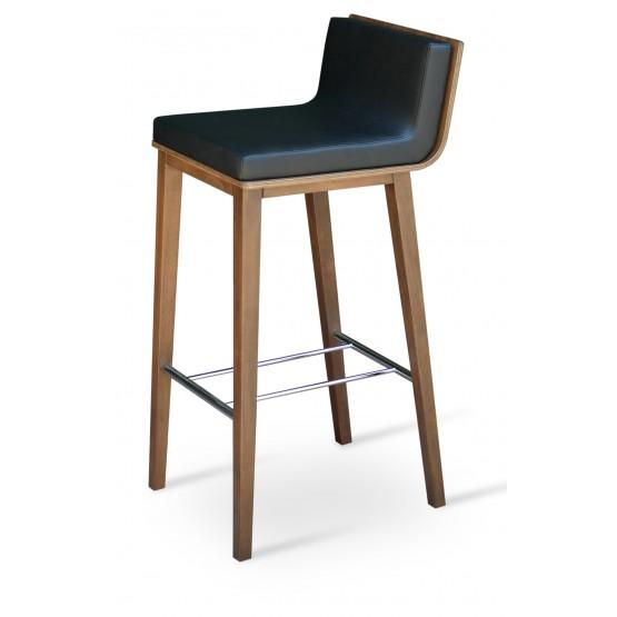 Corona Wood Bar Stool, Plywood Walnut Finish, Black Leatherette, Dallas Seat photo