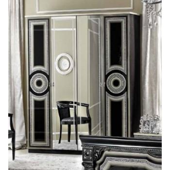 Aida 4-Door Wardrobe, Black + Silver