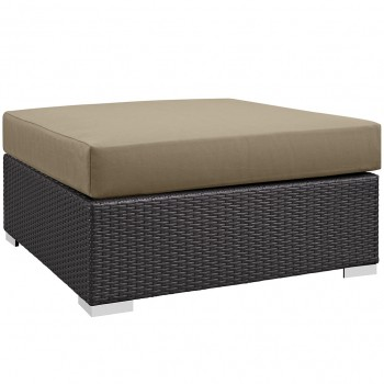 Convene Outdoor Patio Large Square Ottoman, Espresso, Mocha by Modway