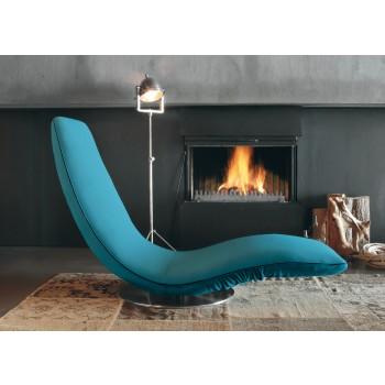 Ricciolo Chaise Lounge, Turquoise Blue Orchidea Fabric