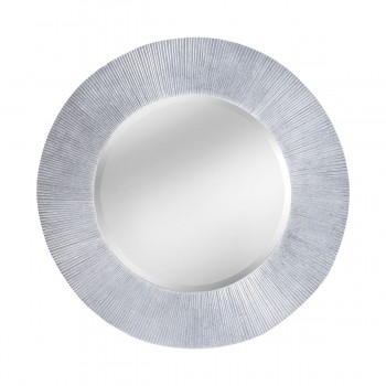 Attra Sculpted Groove Frame Mirror In Bright Silver