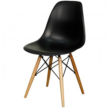 Allen Molded PP Chair, Maple Dowel Legs, Black, Set of 4 by NPD (New Pacific Direct)