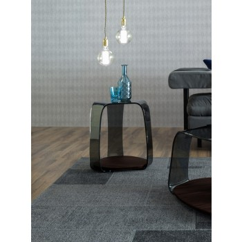 Chakra Side Table, Heat-Treated Dark Oak Wood Base, Grey Transparent Glass Top