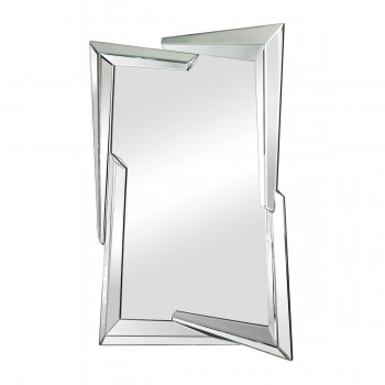 Juxtaposed Angles Clear Beveled Edge Glass Mirror