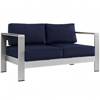 Shore Outdoor Patio Aluminum Loveseat, Silver, Navy by Modway