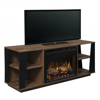 Arlo Media Console Electric Fireplace, Tan Walnut Finish, Realogs (XHD26) Firebox