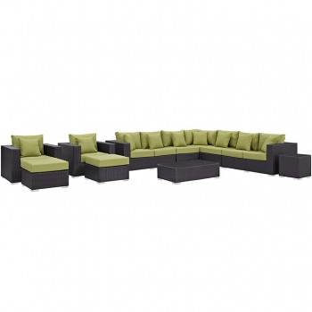 Convene 11 Piece Outdoor Patio Sectional Set, Espresso, Peridot by Modway